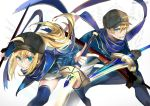 1boy 1girl ahoge arthur_pendragon_(fate) artoria_pendragon_(all) bangs baseball_cap black_headwear blonde_hair blue_eyes blue_jacket blue_scarf cosplay excalibur_(fate/prototype) fate/grand_order fate_(series) fighting_stance gloves green_eyes hair_between_eyes hat holding jacket long_hair long_sleeves looking_at_viewer mysterious_heroine_x mysterious_heroine_x_(cosplay) ponytail pvc_parfait scarf shiny shiny_hair shorts smile smirk sword thigh-highs track_jacket upper_body weapon