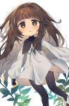 1girl :o bangs black_gloves black_legwear black_ribbon blush boots brown_eyes brown_footwear brown_hair commentary deemo dress eyebrows_visible_through_hair girl_(deemo) gloves highres long_hair long_sleeves neck_ribbon pantyhose parted_lips puffy_long_sleeves puffy_sleeves ribbon simple_background sleeves_past_wrists solo very_long_hair wagashi928 white_background white_dress