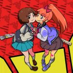 2girls bandaid bandaid_on_knee bandaid_on_leg bangs baseball_bat black_skirt blue_eyes blue_skirt bob_cut bow brown_eyes brown_hair cheek-to-cheek crossover eyebrows_visible_through_hair gyosone hair_bow holding_hands jacket kill_la_kill kyoko_(kunio-kun) long_hair looking_at_viewer mankanshoku_mako multiple_girls open_clothes open_jacket orange_hair ponytail red_bow river_city_girls short_hair skirt tied_hair v-shaped_eyebrows