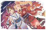 2girls bangs beatrix_(granblue_fantasy) belt belt_buckle blonde_hair blue_eyes braid braided_ponytail brown_hair buckle candy_apple commentary_request dutch_angle english_text fireworks floral_print flower food granblue_fantasy green_eyes hair_bun hair_flower hair_ornament holding holding_food japanese_clothes kimono kinchaku long_ponytail long_sleeves looking_at_viewer multiple_girls obi open_mouth parted_bangs pouch sash shimatani_azu side_ponytail sidelocks swept_bangs teeth wide_sleeves yukata zeta_(granblue_fantasy)