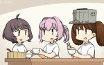 3girls ahoge alternate_costume bangs blue_eyes blunt_bangs bowl brown_eyes brown_hair commentary_request dated hamu_koutarou highres kantai_collection kishinami_(kantai_collection) long_hair multiple_girls pink_hair ponytail rice_bowl ryuujou_(kantai_collection) shiranui_(kantai_collection) shirt short_hair t-shirt twintails upper_body visor_cap wavy_hair white_shirt