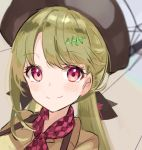 1girl bangs beret black_headwear blunt_bangs blurry blurry_background checkered checkered_neckwear commentary face green_hair green_shirt hair_ornament hairclip hat highres neckerchief note55885 pink_eyes portrait shirt sound_wave symbol_commentary twintails umbrella vocaloid xin_hua xin_hua_(vocaloid4)