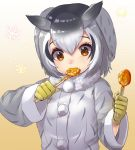 1girl black_hair buttons coat commentary_request eyebrows_visible_through_hair food fur_collar fur_trim gloves grey_hair highres kemono_friends long_sleeves multicolored_hair northern_white-faced_owl_(kemono_friends) orange_eyes short_hair solo spoon spoon_in_mouth tadano_magu upper_body white_coat white_hair winter_clothes winter_coat yellow_gloves