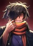 1boy adjusting_neckwear bangs black_hair close-up facial_hair fate/grand_order fate_(series) gradient gradient_background hair_over_one_eye highres japanese_clothes koha-ace kuroi_susumu light long_hair long_sleeves looking_at_viewer male_focus okada_izou_(fate) orange_eyes ponytail scarf shiny shiny_hair simple_background smile smirk solo stubble teeth upper_body