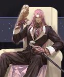 1boy bird black_eyes black_jacket black_lipstick cane diavolo formal gloves jacket jojo_no_kimyou_na_bouken lipstick long_hair looking_at_viewer makeup male_focus necktie owl pink_hair purple_hair shirt sitting solo striped striped_shirt suit vento_aureo yepnean