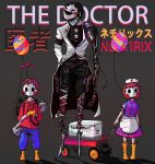 1girl 2boys backpack bag balloon balloon_boy_(fnaf) bandaged_leg bandages black_hair blood bloody_bandages box brown_hair child container cyborg doctor five_nights_at_freddy's five_nights_at_freddy's_2 gun hat heart holding_heart holster humanization instrument jj_(fnaf) mask mechanical_arm mechanical_legs mouth_mask multiple_boys neytirix nurse nurse_cap organ short_hair surgical_mask the_puppet_(fnaf) weapon wheelbarrow