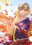 1girl autumn blonde_hair blue_eyes blue_sky braid braided_ponytail breasts fate/grand_order fate_(series) headpiece japanese_clothes jeanne_d'arc_(fate) jeanne_d'arc_(fate)_(all) kimono leaf mossi multicolored multicolored_clothes multicolored_kimono purple_kimono sidelocks sky smile