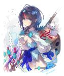 1girl bangs bare_shoulders black_hair blue_eyes blue_ribbon blush breasts closed_mouth dice dress fate/grand_order fate/requiem fate_(series) fundoshi haku_(sabosoda) japanese_clothes jewelry large_breasts long_sleeves looking_at_viewer magatama magatama_hair_ornament medium_hair multicolored_hair necklace oversized_object pelvic_curtain pink_hair puffy_long_sleeves puffy_sleeves ribbon sideboob sideless_outfit simple_background smile streaked_hair thighs utsumi_erise white_background white_dress