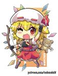 1girl arm_up armband arrow_(projectile) bangs belt black_gloves blonde_hair boots bow claws collarbone colonel_aki commentary_request crystal dress eyebrows_visible_through_hair flandre_scarlet frilled_dress frills gloves hair_between_eyes looking_at_viewer one_eye_closed open_mouth quiver red_dress red_eyes red_ribbon ribbon ribbon-trimmed_headwear ribbon_trim short_hair short_sleeves smile solo stuffed_animal stuffed_toy teddy_bear touhou white_frills white_headwear white_sleeves wings yellow_neckwear