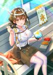 1girl :d absurdres arknights bangs bench breasts brown_hair brown_skirt chinese_commentary commentary_request eyebrows_visible_through_hair feet_out_of_frame food hachimaki hair_between_eyes hand_up headband highres holding holding_food large_breasts looking_at_viewer magallan_(arknights) multicolored_hair nejiri_hachimaki open_mouth rainbow shaved_ice shirt short_hair short_sleeves sitting skirt smile solo streaked_hair thigh-highs vic_(user_ztdh7374) white_hair white_legwear white_shirt yellow_eyes zettai_ryouiki