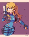 1girl absurdres bandaged_arm bandages blood blue_bodysuit blue_bow bodysuit bow commentary cropped_jacket cuts earrings english_commentary explosive grenade gun handgun highres holding holding_gun holding_weapon holster injury jewelry long_hair metroid mole mole_under_mouth peachyboi pistol ponytail samus_aran sidelocks solo thigh_gap thigh_holster thigh_strap torn_bodysuit torn_clothes trigger_discipline weapon zero_suit
