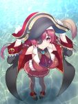 1girl bodysuit breasts coat commentary_request eyepatch gloves hat highres hololive houshou_marine long_hair looking_at_viewer okuri_banto pirate pirate_hat pleated_skirt purple_hair red_eyes skirt smile solo thigh-highs white_gloves