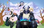 3boys 5girls :d absurdres ahoge artoria_pendragon_(all) basket black_legwear black_panties blonde_hair breasts clouds edmond_dantes_(fate/grand_order) english_commentary fate/apocrypha fate/grand_order fate/stay_night fate_(series) fou_(fate/grand_order) fujimaru_ritsuka_(female) gauntlets grill hat highres horns hot_dog jack_the_ripper_(fate/apocrypha) mash_kyrielight mask merlin_(fate) multiple_boys multiple_girls navel noir_(4chan) nursery_rhyme_(fate/extra) open_mouth panties purple_hair riyo_(lyomsnpmp)_(style) saber saber_alter sitting smile teeth tentacles thigh-highs tree underwear white_hair