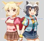 2girls :d alternate_costume animal_ear_fluff animal_ears backpack bag bangs black_hair blonde_hair blue_jacket blue_skirt brown_hair casual common_raccoon_(kemono_friends) cowboy_shot extra_ears eyebrows_visible_through_hair fang fennec_(kemono_friends) fox_ears grey_background grey_hair heart heart_print highres holding_hands jacket kemono_friends looking_at_viewer multiple_girls open_mouth outline plaid plaid_skirt puffy_short_sleeves puffy_sleeves raccoon_ears randoseru scrunchie short_hair short_sleeves simple_background skirt smile suicchonsuisui white_outline wrist_scrunchie yellow_scrunchie