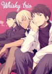 3boys akai_shuuichi amuro_tooru beanie black_hair black_headwear black_jacket black_shirt blue_eyes brown_hair brown_pants chin_rest cigarette collared_shirt commentary_request dark_skin dark_skinned_male english_text feet_out_of_frame grey_pants hat jacket looking_at_viewer male_focus mashima_shima meitantei_conan mouth_hold multiple_boys pants pink_background scotch_(meitantei_conan) shirt simple_background sitting smile smoke smoking twitter_username vest
