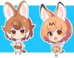 2girls animal_ears blush breasts brown_hair chibi closed_mouth dhole_(kemono_friends) elbow_gloves eyebrows_visible_through_hair gloves highres kemono_friends looking_at_viewer medium_breasts multicolored_hair multiple_girls open_mouth orange_eyes orange_hair serval_(kemono_friends) serval_ears serval_tail short_hair smile tail takosuke0624 two-tone_hair white_hair
