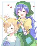 2girls alternate_hairstyle apron aqua_apron arm_ribbon bako0 blonde_hair blue_bow blue_hair blue_ribbon blue_shirt bow collarbone dragon_horns dress eyebrows_visible_through_hair frilled_hood green_apron green_hood hands_on_head haniyasushin_keiki head_scarf heart highres horns kicchou_yachie long_hair multiple_girls open_mouth pocket ribbon shirt short_hair single_strap smile sweatdrop touhou turtle_shell two_side_up wavy_hair yellow_dress
