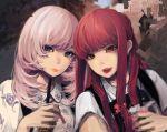 2girls bangs bubble_tea grey_eyes holding_drink idol long_hair multiple_girls original pink_hair rakugaki_suruhito red_eyes redhead self_shot