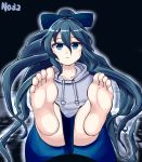 1girl 367gou barefoot black_background blue_bow blue_eyes blue_hair blue_skirt bow collarbone commentary_request debt expressionless eyebrows_visible_through_hair feet hair_bow highres hood hoodie long_hair looking_at_viewer pov_feet simple_background sitting skirt soles solo toes touhou very_long_hair yorigami_shion