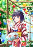 1girl absurdres bangs blue_eyes blush closed_mouth collarbone commentary_request eyebrows_visible_through_hair eyelashes floral_print highres holding japanese_clothes kimono looking_at_viewer original pon_yui print_kimono purple_hair sash short_hair smile solo summer tree wide_sleeves wood yellow_sash yukata