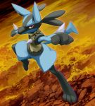 commentary_request digitigrade fur gen_4_pokemon glowing highres lucario mk_(mikka) no_humans on_rock pokemon pokemon_(creature) red_eyes rock standing standing_on_one_leg