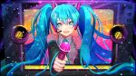 1girl blue_hair clenched_hand crying crying_with_eyes_open hatsune_miku headphones highres holding holding_microphone huu-cross long_hair microphone tears television twintails vocaloid