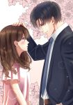 1boy 1girl belt black_hair blue_neckwear blush brown_eyes brown_hair cover cover_page eye_contact flower formal glasses hand_on_another's_head height_difference hetero highres izumi_(stardustalone) looking_at_another necktie neko_ni_nante_narenaikeredo official_art profile short_sleeves simple_background suit