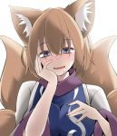 animal_ear_fluff animal_ears blonde_hair blue_eyes blush eyebrows_visible_through_hair fang fox_ears fox_tail hair_between_eyes hand_on_own_chest hand_on_own_face looking_at_viewer multiple_tails nail_polish no_hat no_headwear nose_blush saliva smile sunaguma tail touhou white_background yakumo_ran