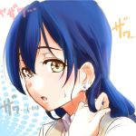 1girl bangs blue_hair earrings hair_between_eyes jewelry love_live! love_live!_school_idol_project open_mouth portrait sketch solo sonoda_umi sweatdrop urutsu_sahari yellow_eyes