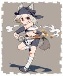 1girl :p animal_ear_fluff animal_ears arm_behind_back arm_warmers bandaged_leg bandages bandana bare_shoulders belt bike_shorts blush border brown_background commentary dog_ears dog_girl dog_tail english_commentary flat_chest flats fundoshi grey_background grey_footwear grey_hair holding japanese_clothes looking_to_the_side midriff multicolored multicolored_background navel om_(nk2007) original raised_eyebrow red_eyes ribs short_hair smoke solo sparks standing standing_on_one_leg swinging tail tight tongue tongue_out two-tone_background utility_belt weapon_request white_border white_neckwear x