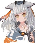 1girl amuri animal_ears arknights artist_name bangs big_hair blush bright_pupils collared_jacket disconnected_mouth drinking_straw eyebrows_visible_through_hair facing_viewer goggles goggles_around_neck grey-framed_eyewear grey_hair grey_jacket hair_between_eyes hair_ribbon holding jacket layered_clothing looking_at_viewer medium_hair open_clothes open_jacket orange-tinted_eyewear orange_eyes orange_ribbon popped_collar ptilopsis_(arknights) ribbon sidelocks signature simple_background sleeve_cuffs solo upper_body white_background white_pupils