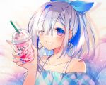 1girl alternate_costume alternate_hairstyle amane_kanata blue_hair blue_nails casual collarbone drink drinking_straw earrings eyebrows_visible_through_hair frappuccino grin hair_intakes hair_ribbon hololive jewelry multicolored_hair nail_polish one_eye_closed oshio_(dayo) ponytail ribbon signature silver_hair smile solo streaked_hair two-tone_hair upper_body violet_eyes virtual_youtuber