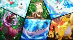 :d ampharos bubble clouds commentary_request day dewgong fangs flower flying foliage furret gen_1_pokemon gen_2_pokemon gen_4_pokemon gen_5_pokemon mantine no_humans open_mouth outdoors pokemon pokemon_(creature) pon_yui scolipede sky smile splitscreen togekiss tongue twilight underwater water