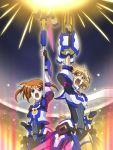 2girls alternate_costume blue_eyes breasts brown_hair cosplay crossover energy_ball eyebrows_visible_through_hair fingerless_gloves flat_chest gauntlets gloves hair_ribbon height_difference light_brown_hair looking_up lyrical_nanoha magical_girl medium_breasts medium_hair multiple_girls navel open_mouth q_kyokuchi ribbon scarf screaming senki_zesshou_symphogear senki_zesshou_symphogear_xd_unlimited short_hair strike_cannon tachibana_hibiki_(symphogear) takamachi_nanoha takamachi_nanoha_(cosplay) twintails yellow_eyes