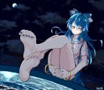 1girl 367gou bangle blue_bow blue_eyes blue_hair blue_skirt bow bracelet clouds cloudy_sky commentary_request covering covering_crotch debt expressionless eyebrows_visible_through_hair feet fence fingernails full_body full_moon hair_bow hands_together highres hood hoodie interlocked_fingers jewelry legs_up long_hair looking_away looking_to_the_side moon nail_polish night night_sky pool poolside pov_feet sitting skirt sky soles solo star_(sky) starry_sky toe_scrunch toenail_polish toenails toes touhou water water_surface wire_fence yorigami_shion