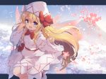 1girl :d baku-p blonde_hair blue_eyes bow bowtie day dress fairy_wings floating_hair flower hat highres letterboxed lily_white long_hair long_sleeves looking_at_viewer mountain open_mouth outdoors pink_flower red_neckwear sash smile solo spring_(season) touhou very_long_hair white_dress white_headwear wide_sleeves wind wings