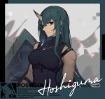 1girl arknights bangs bare_shoulders black_shirt breasts character_name commentary_request facial_scar green_hair grey_eyes hair_ornament hannya_(arknights) highres horns hoshiguma_(arknights) jewelry large_breasts long_hair looking_at_viewer magatama magatama_necklace mongarit necklace scar scar_on_cheek shield shirt single_horn sleeveless sleeveless_shirt solo stitches upper_body