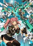 1girl bird black_eyes black_skirt braid clenched_hands duck fingers_to_cheeks garimpeiro green_eyes highres mecha one_eye_closed original pink_hair robot skirt thigh-highs twintails zettai_ryouiki