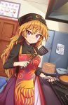 1girl ? adapted_costume apron black_shirt blonde_hair closed_mouth clownpiece contemporary cooking door drawing english_commentary english_text exhaust_hood food frying_pan hair_between_eyes head_scarf hecatia_lapislazuli highres junko_(touhou) kitchen long_hair long_sleeves looking_at_viewer pancake plate red_eyes refrigerator shirt skirt smile solo spatula spoken_question_mark stack_of_pancakes stove tape touhou turtleneck very_long_hair wool_(miwol)