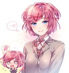 ! ... 1girl aicedrop alternate_eye_color bangs blue_eyes blush chibi chibi_inset doki_doki_literature_club eyebrows_visible_through_hair flying_sweatdrops grey_jacket hair_ribbon heart jacket looking_at_viewer natsuki_(doki_doki_literature_club) neck_ribbon open_mouth pink_hair red_ribbon ribbon school_uniform shirt short_hair simple_background smile spoken_ellipsis spoken_exclamation_mark spoken_heart swept_bangs thought_bubble upper_body white_background white_shirt wing_collar