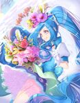 1girl absurdres back_bow blue_bow blue_eyes blue_hair blue_neckwear blue_skirt blue_vest bouquet bow choker cowboy_shot cure_fontaine fish flower frills gloves hair_flower hair_ornament healin'_good_precure highres long_hair looking_away magical_girl ponytail precure red_flower red_rose rose sawaizumi_chiyu shiny shiny_hair skirt smile solo vest white_gloves yuutarou_(fukiiincho)