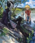 2boys :d black_hair blonde_hair blue_eyes cape day drawr from_behind hidden_face judas_(tales) kyle_dunamis looking_at_another male_focus mask multiple_boys nature nishihara_isao open_mouth outdoors partially_undressed red_shirt shirt short_hair sitting sky smile tales_of_(series) tales_of_destiny_2 translation_request wading water
