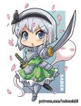 1girl armored_boots armored_skirt black_hairband black_ribbon blue_eyes blush_stickers boots breastplate chibi colonel_aki commentary_request dress english_text eyebrows_visible_through_hair foreshortening gauntlets green_dress hairband holding holding_sword holding_weapon konpaku_youmu konpaku_youmu_(ghost) looking_at_viewer open_mouth petals pointing_sword pointing_weapon ribbon sheath sheathed short_hair silver_hair solo sword touhou v-shaped_eyebrows watermark weapon web_address