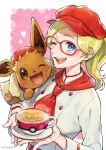1girl ;d absurdres artist_name blonde_hair blue_eyes blush buttons character_request commentary_request cup eevee eyelashes gen_1_pokemon glasses hat heart highres holding_saucer long_hair looking_at_viewer one_eye_closed open_mouth piroshiki123 pokemon pokemon_(creature) pokemon_(game) pokemon_cafe_mix pokemon_on_arm red-framed_eyewear red_headwear saucer smile teacup teeth tongue watermark