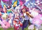 2girls :d absurdres blush chatot commentary_request corsola crossover eiscue eiscue_(ice) eyelashes fujiwara_no_mokou gen_2_pokemon gen_3_pokemon gen_4_pokemon gen_8_pokemon hatterene highres holding holding_poke_ball jacket looking_at_viewer multiple_girls open_mouth orange_jacket outstretched_arm pants plusle poke_ball poke_ball_(generic) pokemon pokemon_(creature) pokemon_(game) pokemon_swsh pon_yui shiny shiny_hair shirt smile spread_fingers stadium tongue touhou white_shirt yuuri_(pokemon)