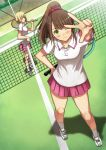 2girls ball bangs blonde_hair brown_hair english_commentary garimpeiro green_eyes hand_on_hip highres hitori_bocchi hitoribocchi_no_marumaru_seikatsu holding holding_ball holding_racket long_hair miniskirt multiple_girls one_eye_closed over_shoulder pink_skirt ponytail racket red_eyes short_hair skirt sunao_nako tennis tennis_ball tennis_racket tied_hair v