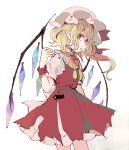 1girl back_bow blonde_hair bow commentary_request cowboy_shot crystal flandre_scarlet from_side hand_up hat long_hair mob_cap mozukuzu_(manukedori) pointy_ears puffy_short_sleeves puffy_sleeves red_eyes red_nails red_skirt red_vest shirt short_sleeves side_ponytail skirt solo touhou vest white_background white_shirt wings wrist_cuffs yellow_neckwear