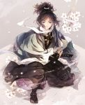 1boy black_hair blue_eyes branch cherry_blossoms hakama haori highres japanese_clothes katana male_focus mole mole_under_eye one_knee petals ponytail ready_to_draw sandals scarf sheath sheathed shinsengumi smile suzuneko-rin sword tabi touken_ranbu weapon white_scarf yamato-no-kami_yasusada