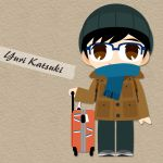 1boy black_hair blue-framed_eyewear blue_scarf brown_eyes character_name coat glasses hat highres kaorin_minogue katsuki_yuuri male_focus scarf smile suitcase yuri!!!_on_ice