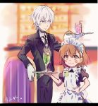 1boy 1girl :3 accelerator ahoge alternate_costume apron artist_name badge bangs black_choker black_dress black_jacket black_legwear black_neckwear blush_stickers bob_cut bolo_tie brown_eyes brown_hair butler button_badge chair choker commentary cup dress dress_shirt enmaided gekota gloves goblet grey_vest hair_between_eyes hand_on_hip height_difference highres holding holding_tray jacket last1031t last_order letterboxed looking_ahead looking_at_viewer maid maid_apron pants parted_lips puffy_short_sleeves puffy_sleeves red_eyes restaurant shirt short_hair short_sleeves signature smile suit_jacket to_aru_kagaku_no_railgun to_aru_majutsu_no_index tray vest white_apron white_gloves white_hair white_shirt